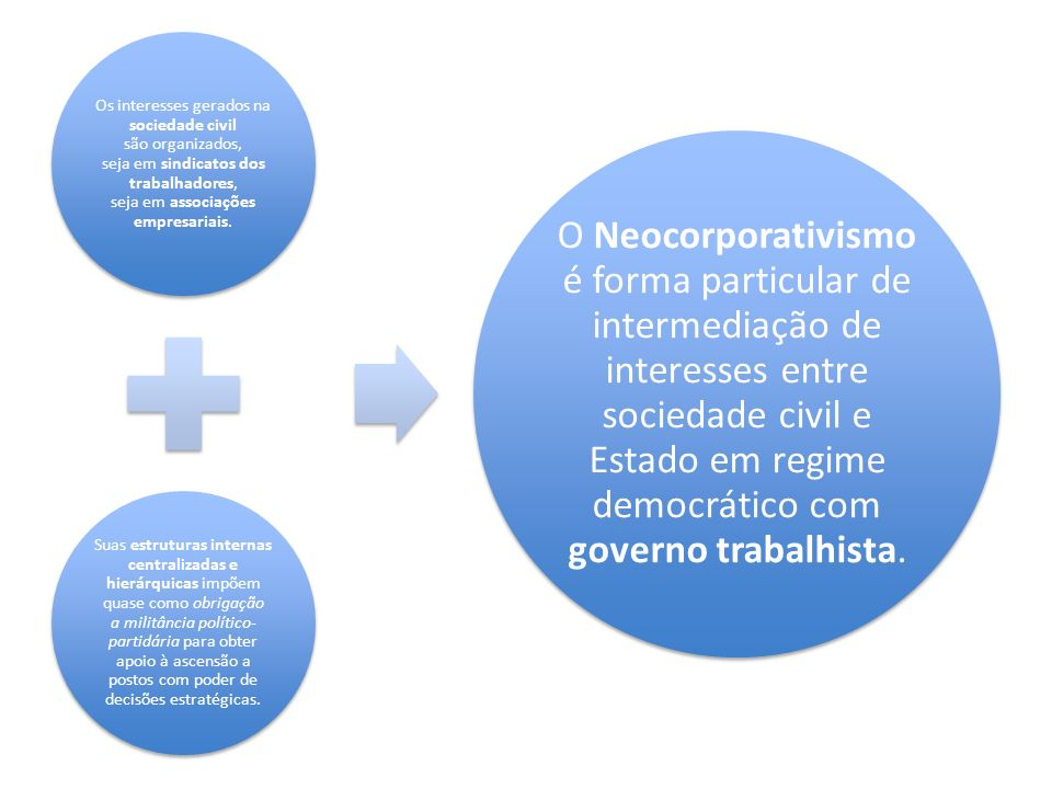 Os interesses gerados na sociedade civil são organizados, seja em sindicatos dos trabalhadores, seja em associações empresariais. Suas estruturas inte