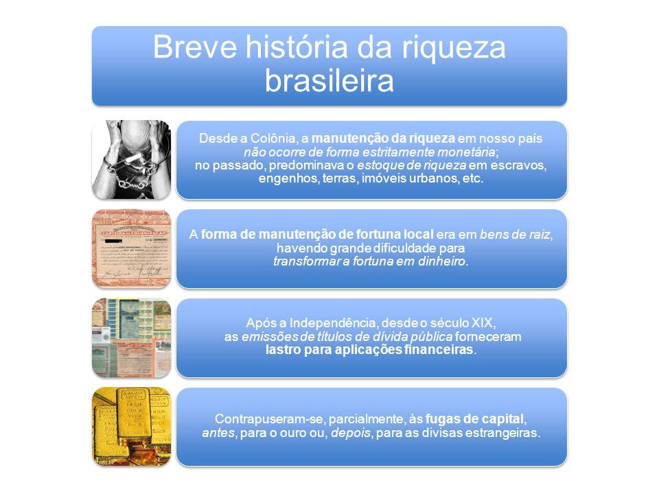 Breve história da riqueza brasileira Desde a Colônia, a manutenção da riqueza em nosso país não ocorre de forma estritamente monetária; no passado, pr