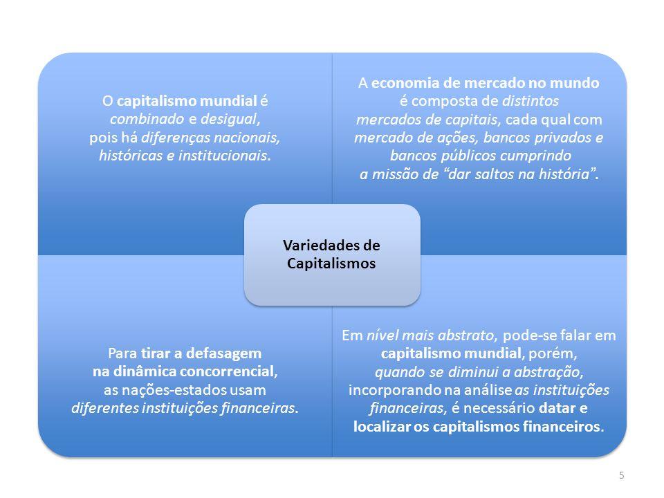 5 O capitalismo mundial é combinado e desigual, pois há diferenças nacionais, históricas e institucionais. A economia de mercado no mundo é composta d