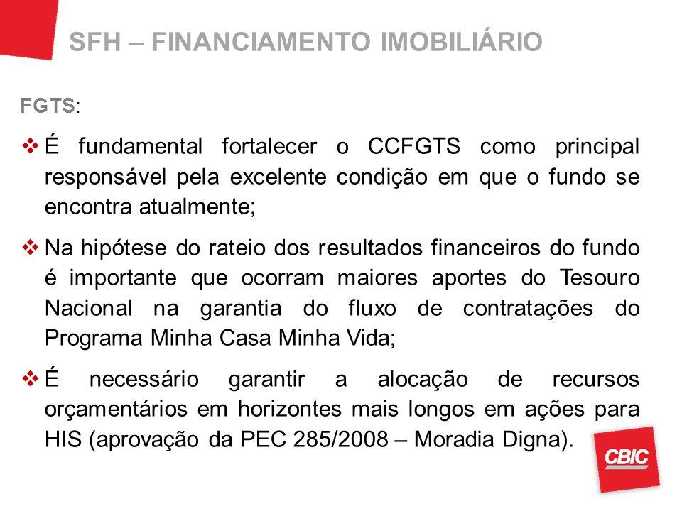SFH – FINANCIAMENTO IMOBILIÁRIO FGTS: É fundamental fortalecer o CCFGTS como principal responsável pela excelente condição em que o fundo se encontra