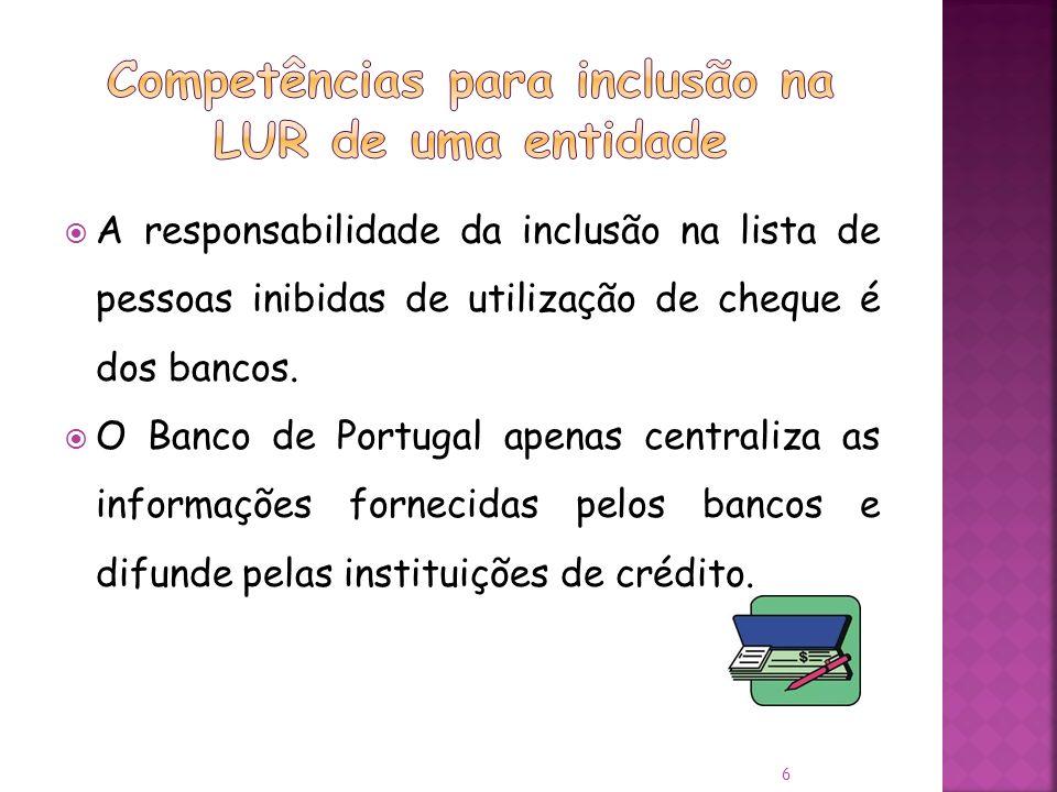 A responsabilidade da inclusão na lista de pessoas inibidas de utilização de cheque é dos bancos.