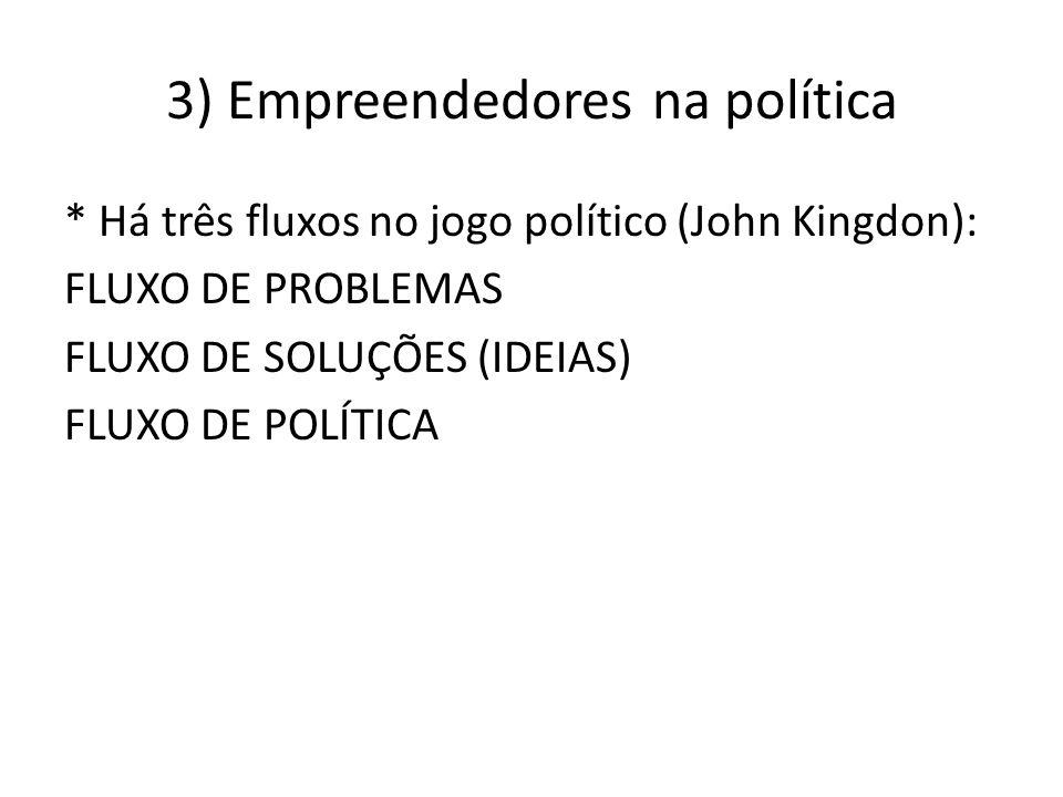 3) Empreendedores na política * Há três fluxos no jogo político (John Kingdon): FLUXO DE PROBLEMAS FLUXO DE SOLUÇÕES (IDEIAS) FLUXO DE POLÍTICA