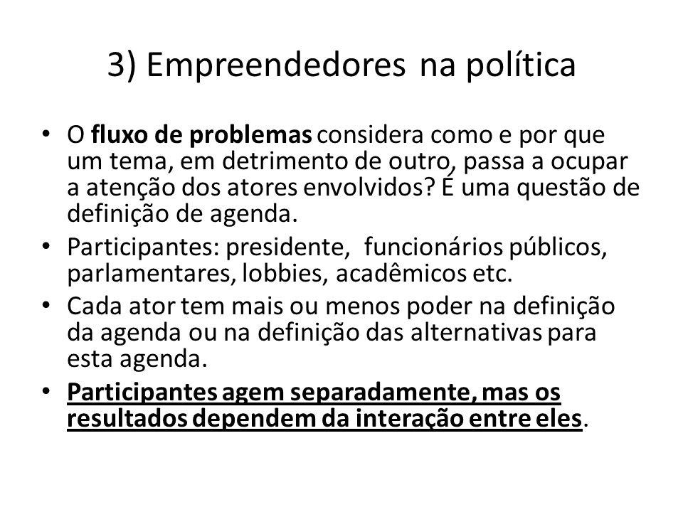 3) Empreendedores na política O fluxo de problemas considera como e por que um tema, em detrimento de outro, passa a ocupar a atenção dos atores envol