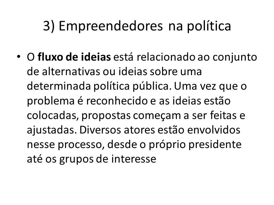 3) Empreendedores na política O fluxo de ideias está relacionado ao conjunto de alternativas ou ideias sobre uma determinada política pública. Uma vez