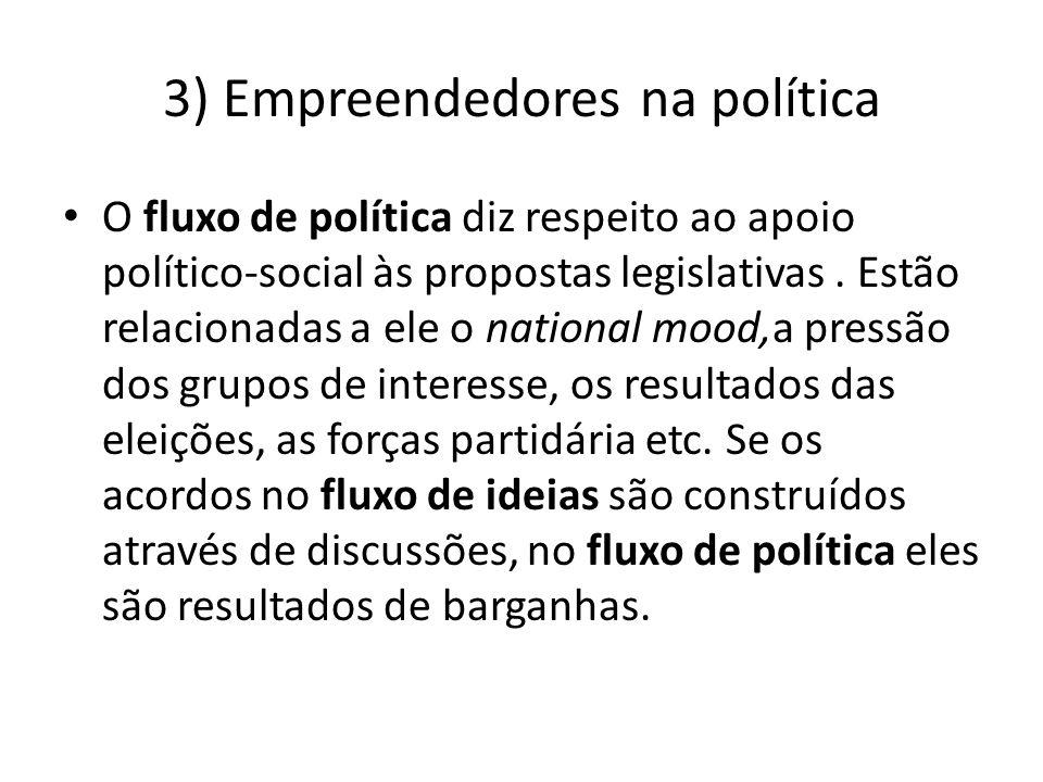 3) Empreendedores na política O fluxo de política diz respeito ao apoio político-social às propostas legislativas. Estão relacionadas a ele o national