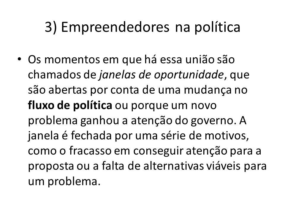 3) Empreendedores na política Os momentos em que há essa união são chamados de janelas de oportunidade, que são abertas por conta de uma mudança no fl