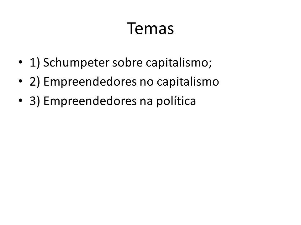 1) Schumpeter sobre capitalismo Uma sociedade pode ser considerada capitalista quando confia seu processo econômico à orientação dos homens de negócio.