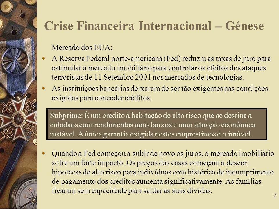 Crise Financeira Internacional – Génese Mercado dos EUA: A Reserva Federal norte-americana (Fed) reduziu as taxas de juro para estimular o mercado imobiliário para controlar os efeitos dos ataques terroristas de 11 Setembro 2001 nos mercados de tecnologias.