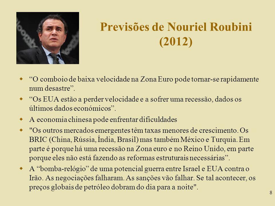 Previsões de Nouriel Roubini (2012) 8 O comboio de baixa velocidade na Zona Euro pode tornar-se rapidamente num desastre. Os EUA estão a perder veloci