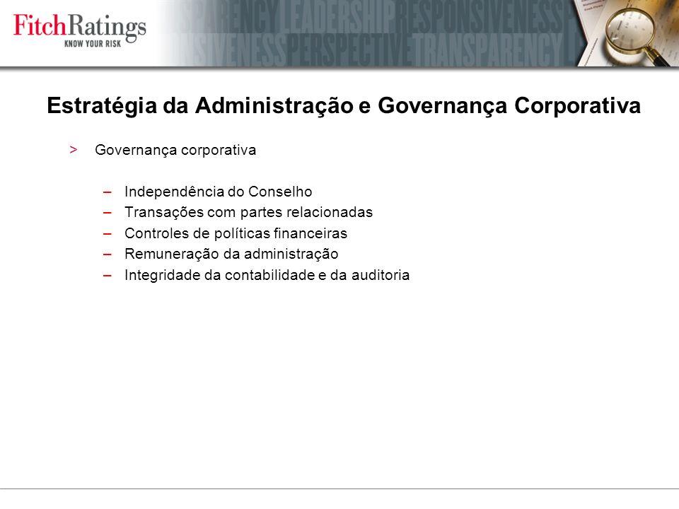 Estratégia da Administração e Governança Corporativa >Governança corporativa –Independência do Conselho –Transações com partes relacionadas –Controles de políticas financeiras –Remuneração da administração –Integridade da contabilidade e da auditoria