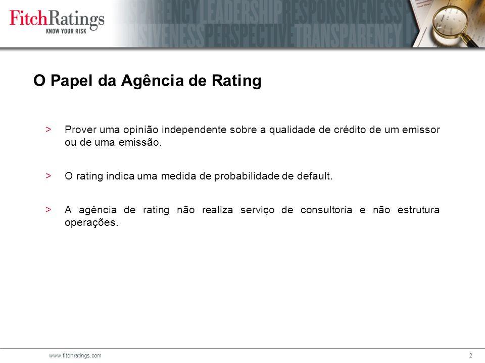 www.fitchratings.com2 O Papel da Agência de Rating >Prover uma opinião independente sobre a qualidade de crédito de um emissor ou de uma emissão.