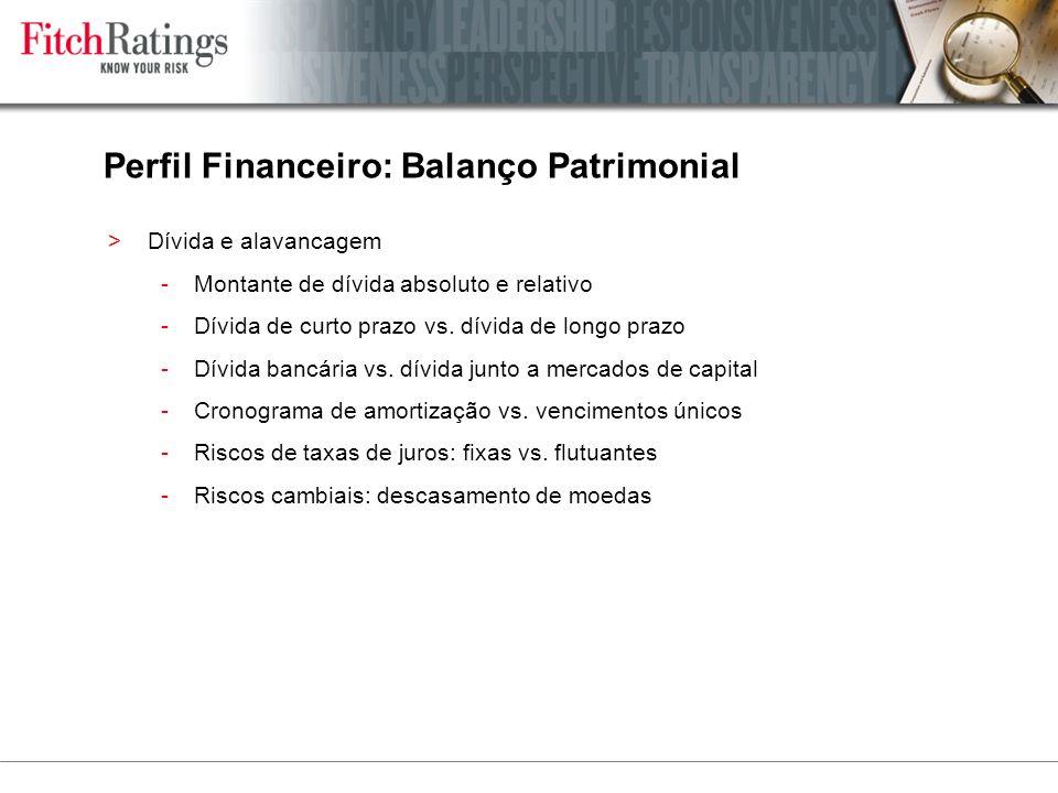 Perfil Financeiro: Balanço Patrimonial >Dívida e alavancagem -Montante de dívida absoluto e relativo -Dívida de curto prazo vs.