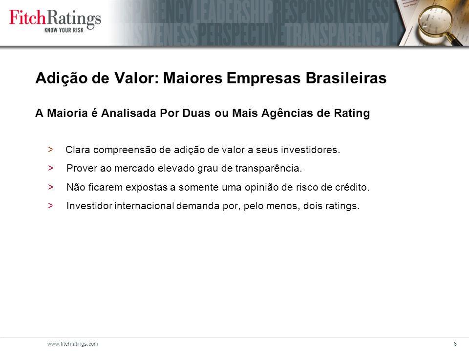www.fitchratings.com6 Adição de Valor: Maiores Empresas Brasileiras A Maioria é Analisada Por Duas ou Mais Agências de Rating > Clara compreensão de adição de valor a seus investidores.