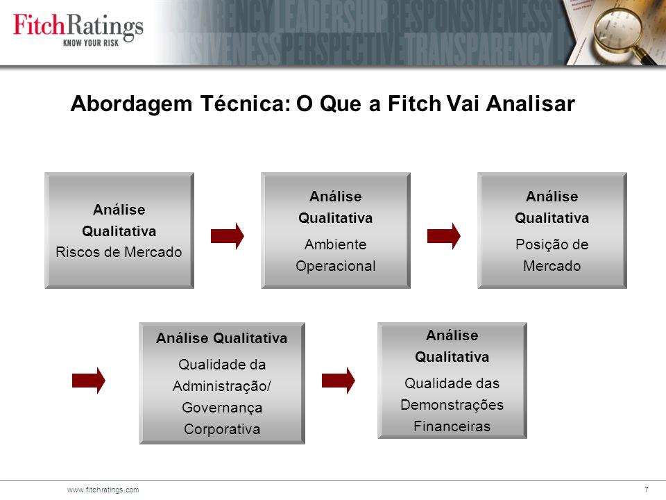 www.fitchratings.com7 Abordagem Técnica: O Que a Fitch Vai Analisar Análise Qualitativa Riscos de Mercado Análise Qualitativa Ambiente Operacional Análise Qualitativa Posição de Mercado Análise Qualitativa Qualidade da Administração/ Governança Corporativa Análise Qualitativa Qualidade das Demonstrações Financeiras