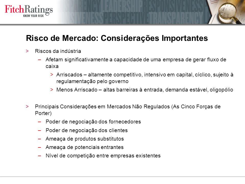 Risco de Mercado: Considerações Importantes >Riscos da indústria –Afetam significativamente a capacidade de uma empresa de gerar fluxo de caixa >Arriscados – altamente competitivo, intensivo em capital, cíclico, sujeito à regulamentação pelo governo >Menos Arriscado – altas barreiras à entrada, demanda estável, oligopólio >Principais Considerações em Mercados Não Regulados (As Cinco Forças de Porter) –Poder de negociação dos fornecedores –Poder de negociação dos clientes –Ameaça de produtos substitutos –Ameaça de potenciais entrantes –Nível de competição entre empresas existentes