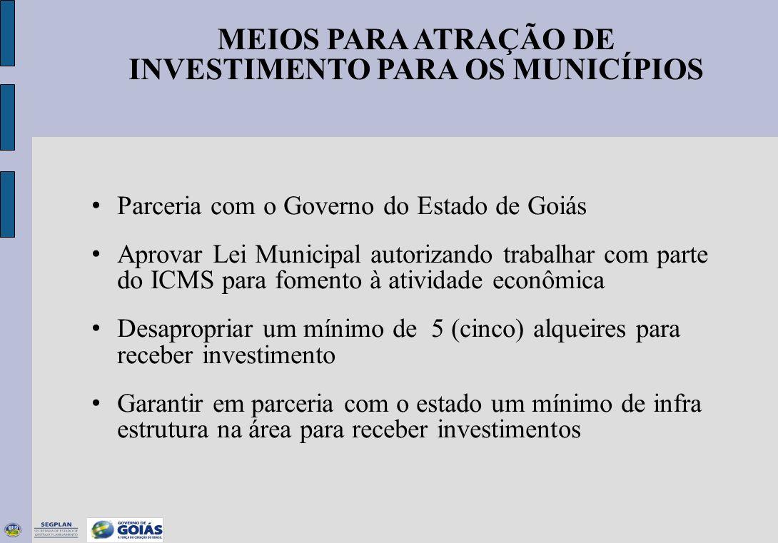 MEIOS PARA ATRAÇÃO DE INVESTIMENTO PARA OS MUNICÍPIOS Parceria com o Governo do Estado de Goiás Aprovar Lei Municipal autorizando trabalhar com parte