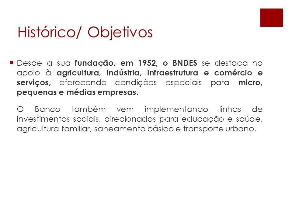 Desde a sua fundação, em 1952, o BNDES se destaca no apoio à agricultura, indústria, infraestrutura e comércio e serviços, oferecendo condições especi