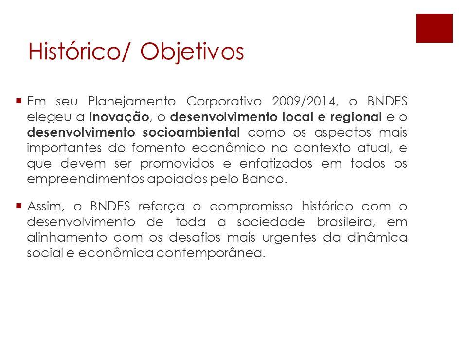 Em seu Planejamento Corporativo 2009/2014, o BNDES elegeu a inovação, o desenvolvimento local e regional e o desenvolvimento socioambiental como os as
