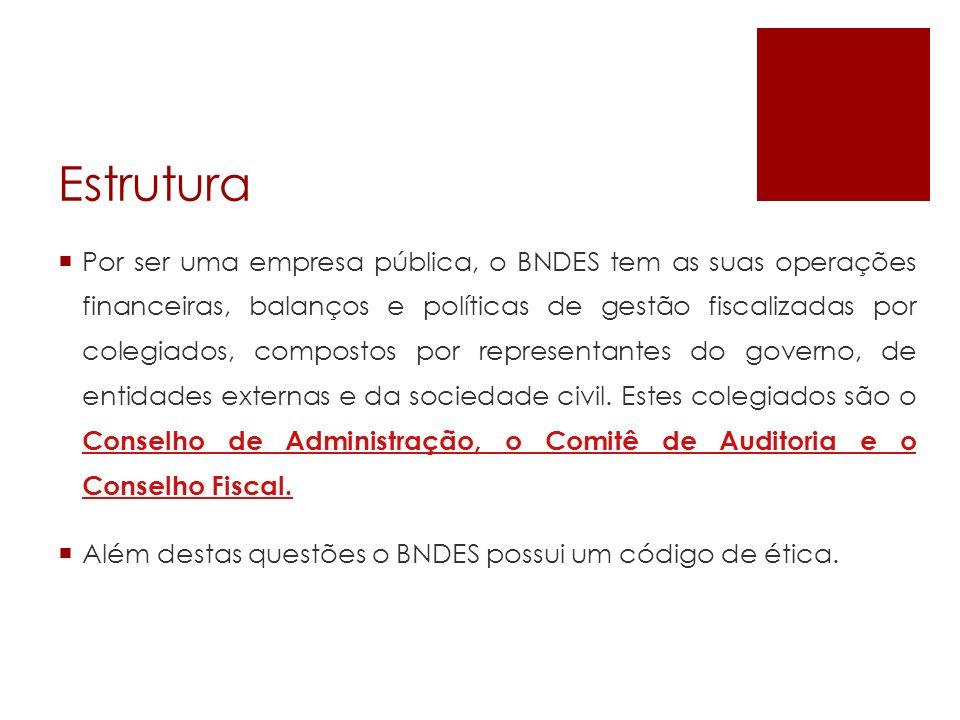 Estrutura Por ser uma empresa pública, o BNDES tem as suas operações financeiras, balanços e políticas de gestão fiscalizadas por colegiados, composto