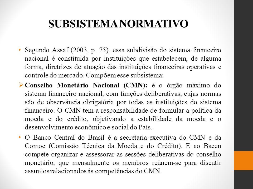 SUBSISTEMA NORMATIVO Segundo Assaf (2003, p.