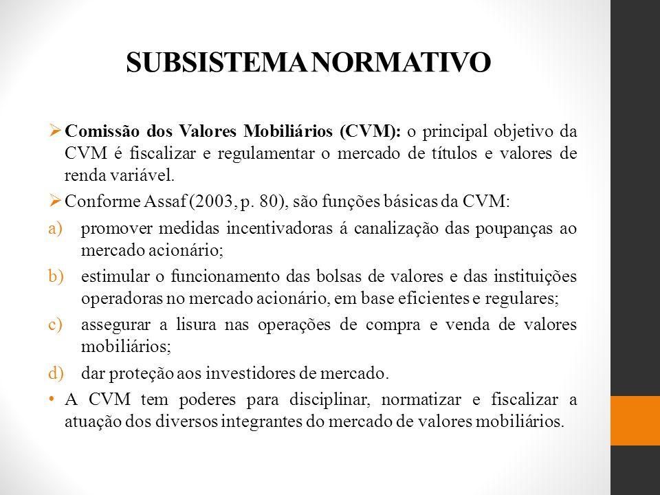 SUBSISTEMA NORMATIVO Comissão dos Valores Mobiliários (CVM): o principal objetivo da CVM é fiscalizar e regulamentar o mercado de títulos e valores de renda variável.