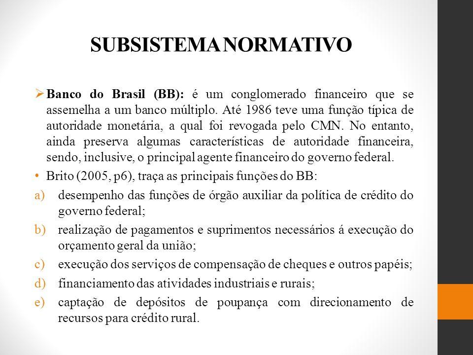 SUBSISTEMA NORMATIVO Banco do Brasil (BB): é um conglomerado financeiro que se assemelha a um banco múltiplo.