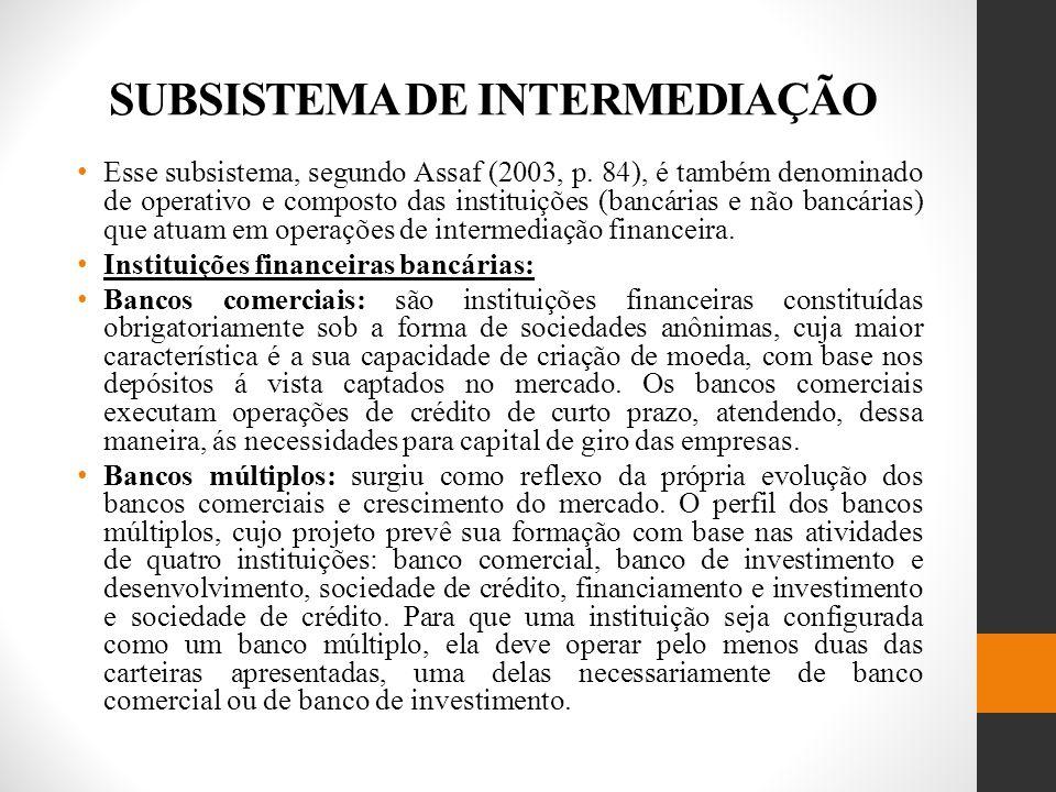 SUBSISTEMA DE INTERMEDIAÇÃO Esse subsistema, segundo Assaf (2003, p.