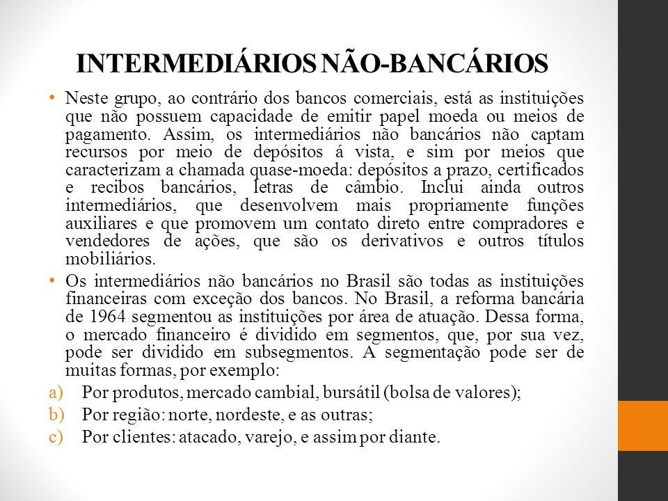 INTERMEDIÁRIOS NÃO-BANCÁRIOS Neste grupo, ao contrário dos bancos comerciais, está as instituições que não possuem capacidade de emitir papel moeda ou meios de pagamento.