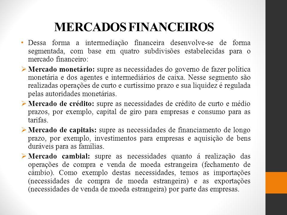 MERCADOS FINANCEIROS Dessa forma a intermediação financeira desenvolve-se de forma segmentada, com base em quatro subdivisões estabelecidas para o mercado financeiro: Mercado monetário: supre as necessidades do governo de fazer política monetária e dos agentes e intermediários de caixa.