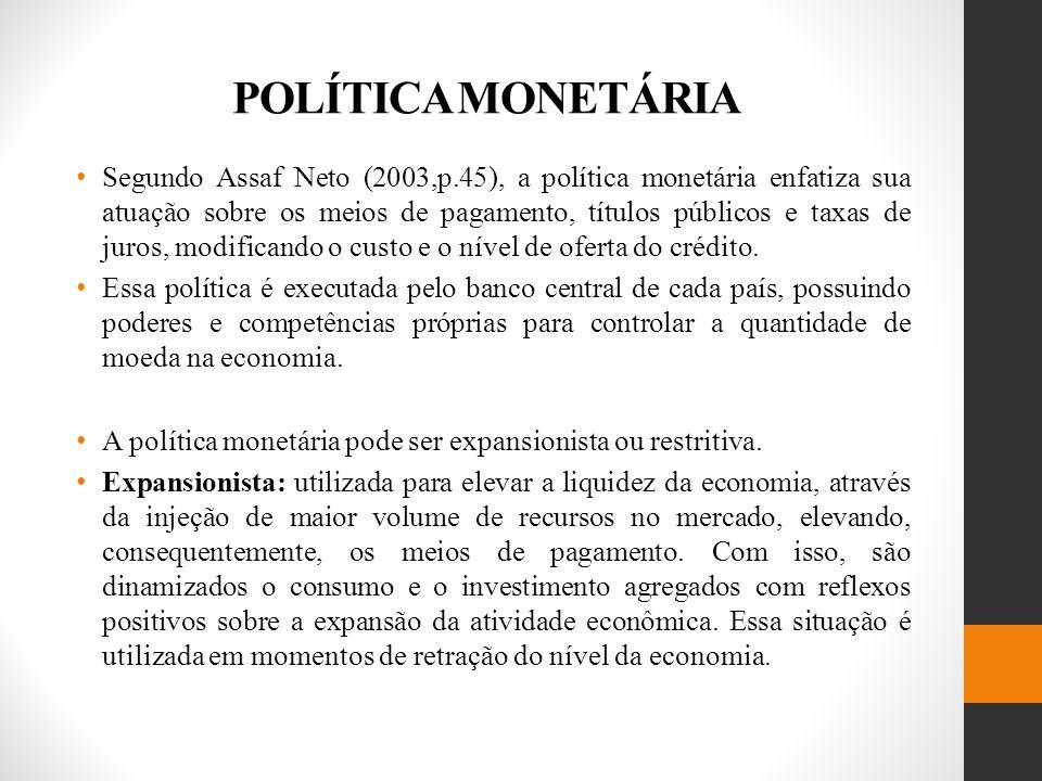POLÍTICA MONETÁRIA Segundo Assaf Neto (2003,p.45), a política monetária enfatiza sua atuação sobre os meios de pagamento, títulos públicos e taxas de juros, modificando o custo e o nível de oferta do crédito.