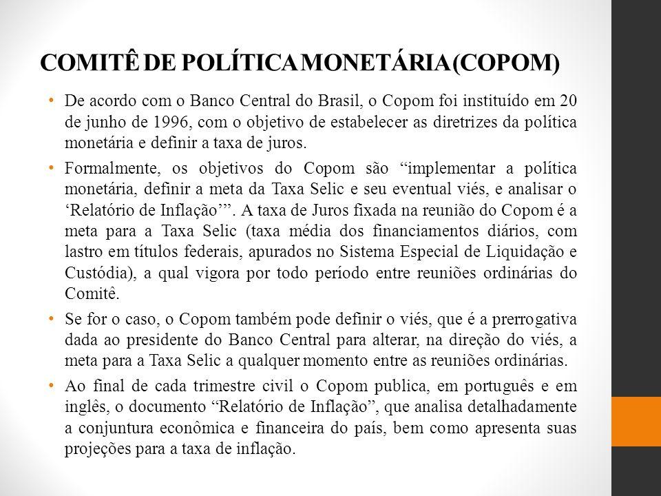 COMITÊ DE POLÍTICA MONETÁRIA (COPOM) De acordo com o Banco Central do Brasil, o Copom foi instituído em 20 de junho de 1996, com o objetivo de estabelecer as diretrizes da política monetária e definir a taxa de juros.
