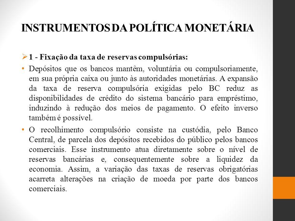 INSTRUMENTOS DA POLÍTICA MONETÁRIA 1 - Fixação da taxa de reservas compulsórias: Depósitos que os bancos mantêm, voluntária ou compulsoriamente, em sua própria caixa ou junto às autoridades monetárias.