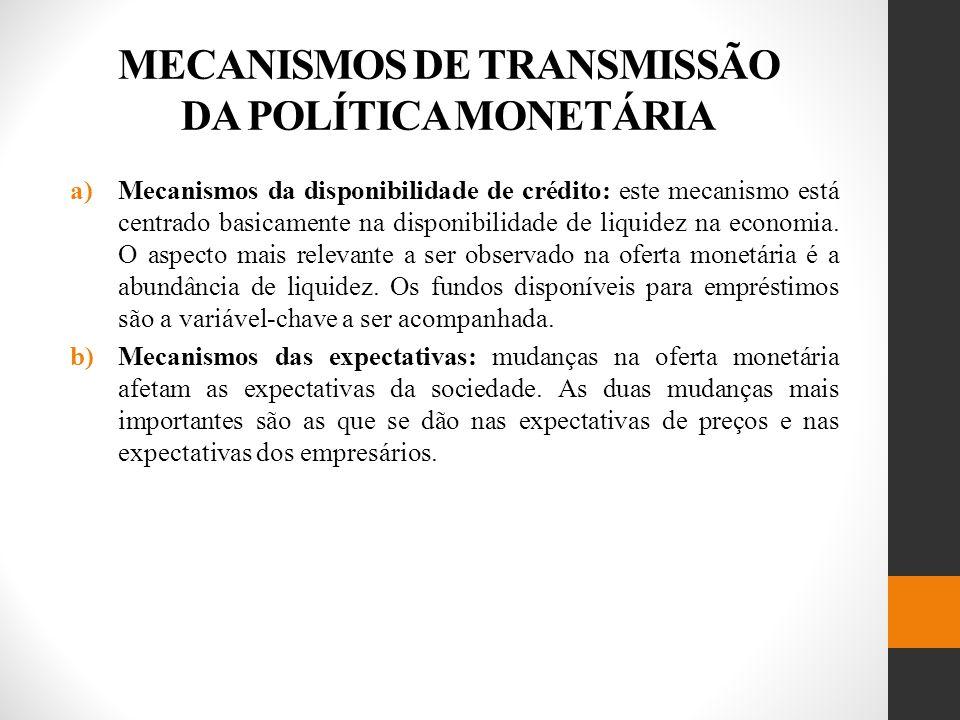MECANISMOS DE TRANSMISSÃO DA POLÍTICA MONETÁRIA a)Mecanismos da disponibilidade de crédito: este mecanismo está centrado basicamente na disponibilidade de liquidez na economia.