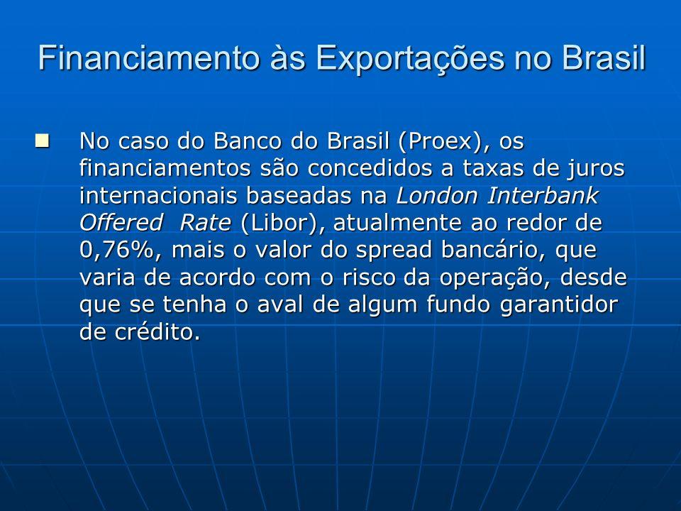 Financiamento às Exportações no Brasil No caso do Banco do Brasil (Proex), os financiamentos são concedidos a taxas de juros internacionais baseadas n