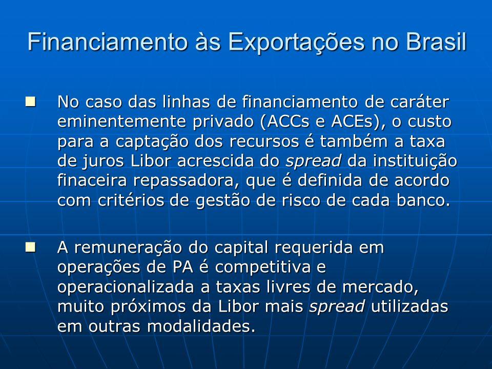 Financiamento às Exportações no Brasil No caso das linhas de financiamento de caráter eminentemente privado (ACCs e ACEs), o custo para a captação dos