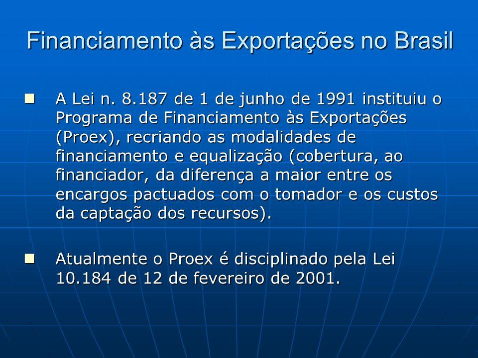 Financiamento às Exportações no Brasil A Lei n. 8.187 de 1 de junho de 1991 instituiu o Programa de Financiamento às Exportações (Proex), recriando as