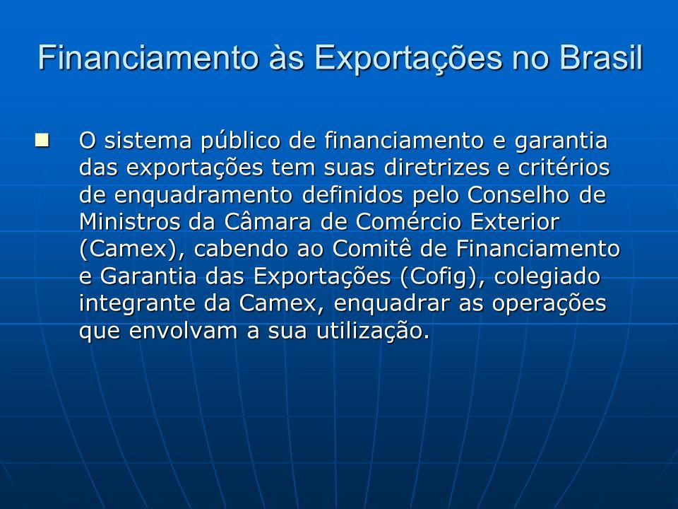 Financiamento às Exportações no Brasil O sistema público de financiamento e garantia das exportações tem suas diretrizes e critérios de enquadramento
