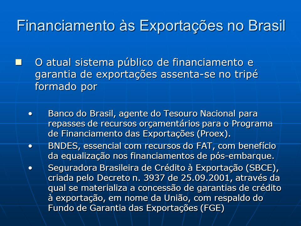 Financiamento às Exportações no Brasil O atual sistema público de financiamento e garantia de exportações assenta-se no tripé formado por O atual sist