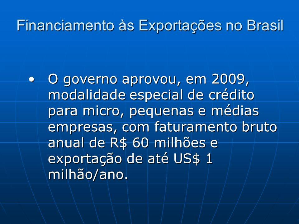 Financiamento às Exportações no Brasil O governo aprovou, em 2009, modalidade especial de crédito para micro, pequenas e médias empresas, com faturame