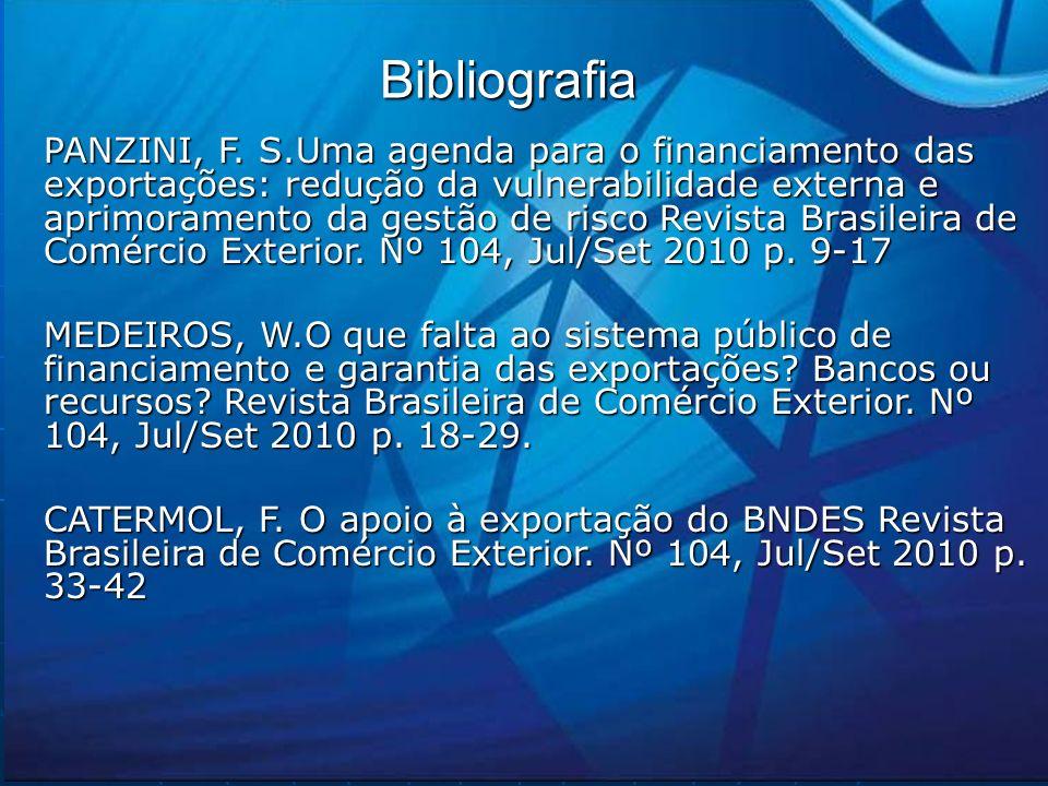 Bibliografia PANZINI, F. S.Uma agenda para o financiamento das exportações: redução da vulnerabilidade externa e aprimoramento da gestão de risco Revi