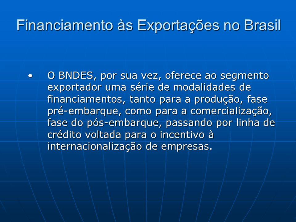 Financiamento às Exportações no Brasil O BNDES, por sua vez, oferece ao segmento exportador uma série de modalidades de financiamentos, tanto para a p