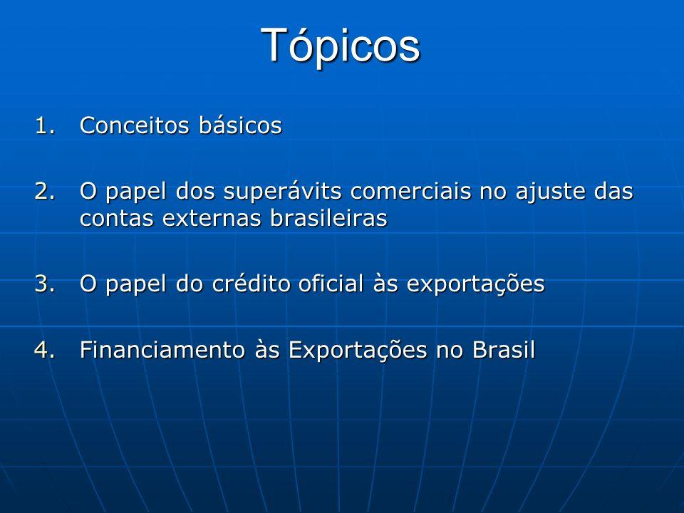 Tópicos 1.Conceitos básicos 2.O papel dos superávits comerciais no ajuste das contas externas brasileiras 3.O papel do crédito oficial às exportações
