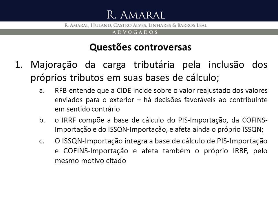 Questões controversas 1.Majoração da carga tributária pela inclusão dos próprios tributos em suas bases de cálculo; a.RFB entende que a CIDE incide so
