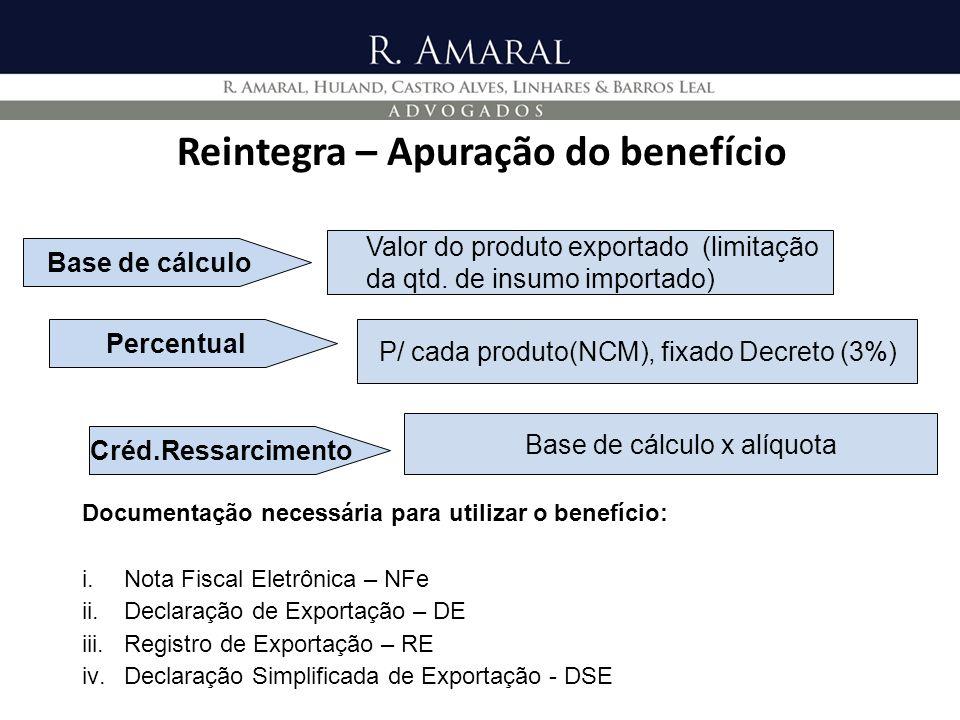 Reintegra – Apuração do benefício P/ cada produto(NCM), fixado Decreto (3%) Percentual Base de cálculo x alíquota Créd.Ressarcimento Valor do produto