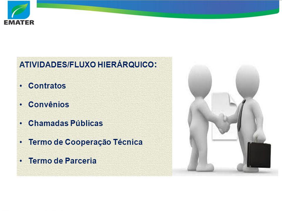 ATIVIDADES/FLUXO HIERÁRQUICO : Contratos Convênios Chamadas Públicas Termo de Cooperação Técnica Termo de Parceria