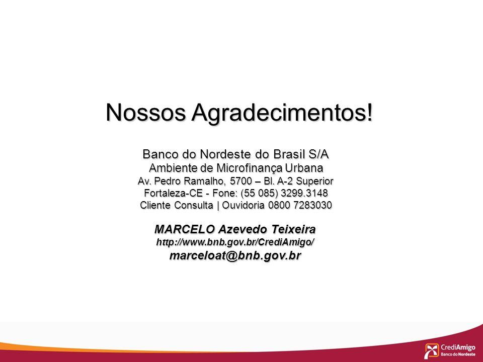MARCELO Azevedo Teixeira http://www.bnb.gov.br/CrediAmigo/marceloat@bnb.gov.br Nossos Agradecimentos! Nossos Agradecimentos! Banco do Nordeste do Bras