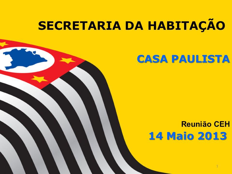 SECRETARIA DA HABITAÇÃO Reunião CEH CASA PAULISTA 14 Maio 2013 1