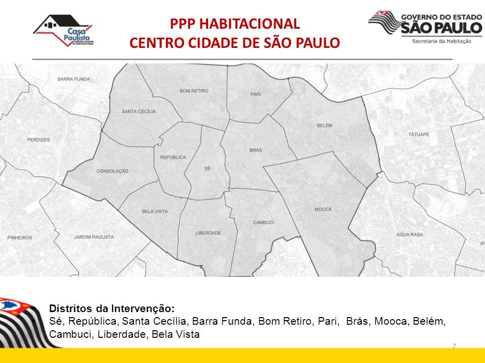 Distritos da Intervenção: Sé, República, Santa Cecília, Barra Funda, Bom Retiro, Pari, Brás, Mooca, Belém, Cambuci, Liberdade, Bela Vista PPP HABITACI