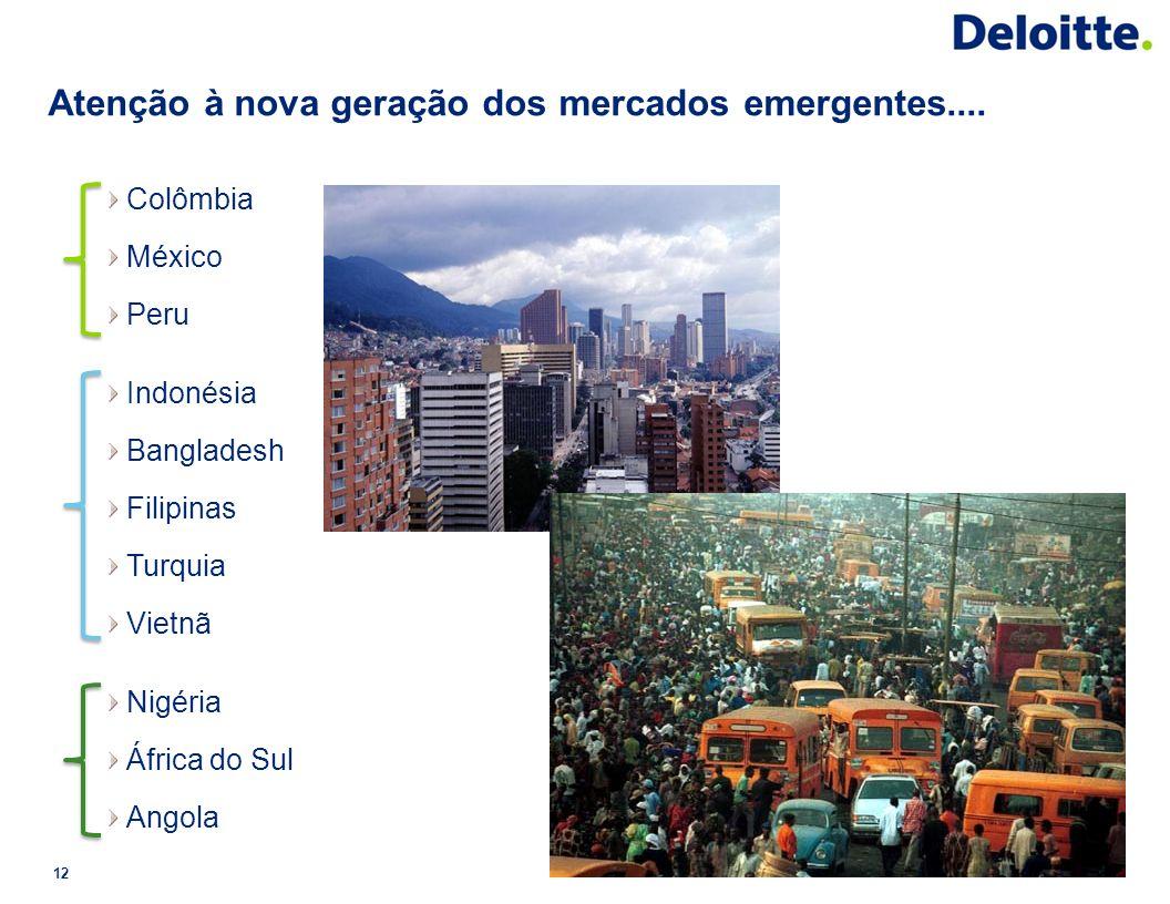 Atenção à nova geração dos mercados emergentes.... 12 Colômbia México Peru Indonésia Bangladesh Filipinas Turquia Vietnã Nigéria África do Sul Angola