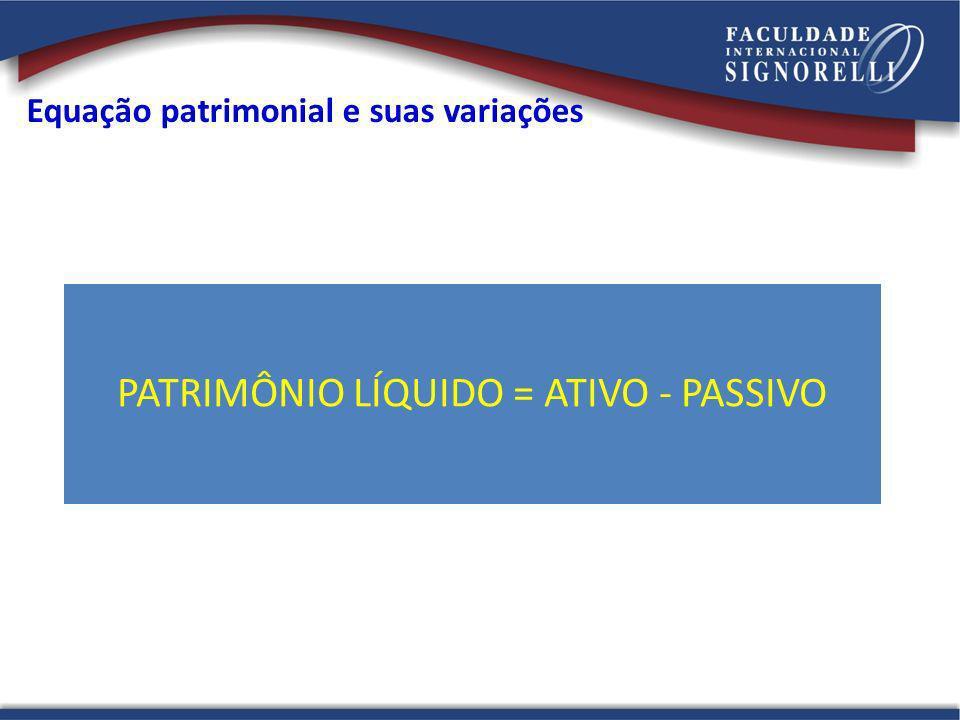 Equação patrimonial e suas variações PATRIMÔNIO LÍQUIDO = ATIVO - PASSIVO